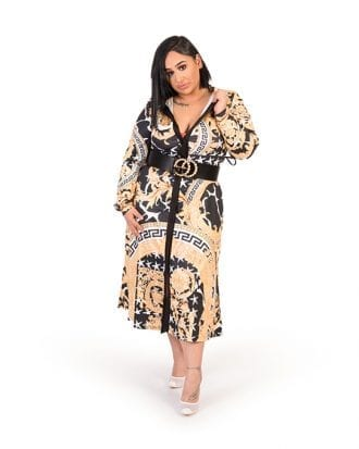 Amiyah Glamaker Gold Colour Block Midi Dress