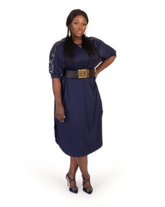 Have Navy Blue Shoulder Sequin Curve Hem Dress