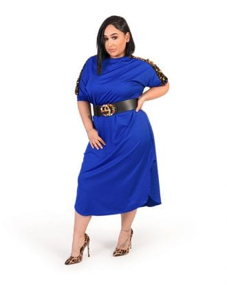 Haven Blue Shoulder Sequin Curve Hem Dress