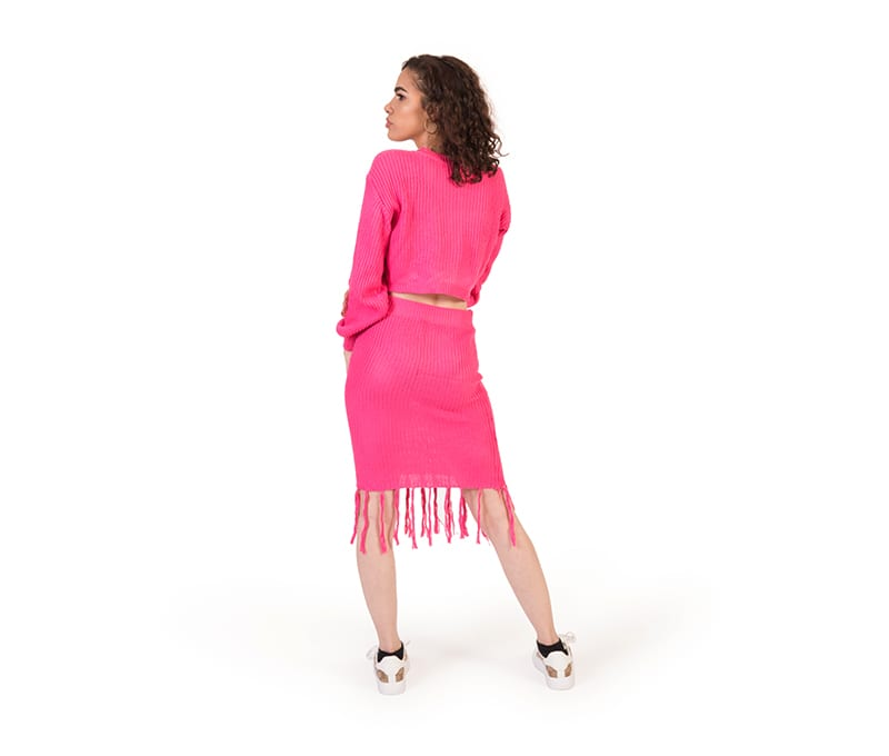 Freya Pink Cable Knit Crop Top And Skirt Co-ord