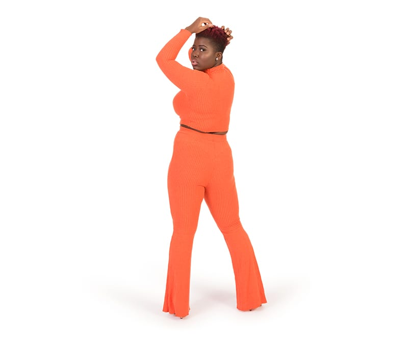 Maci Orange Knitted Crop Top and Trouser Set