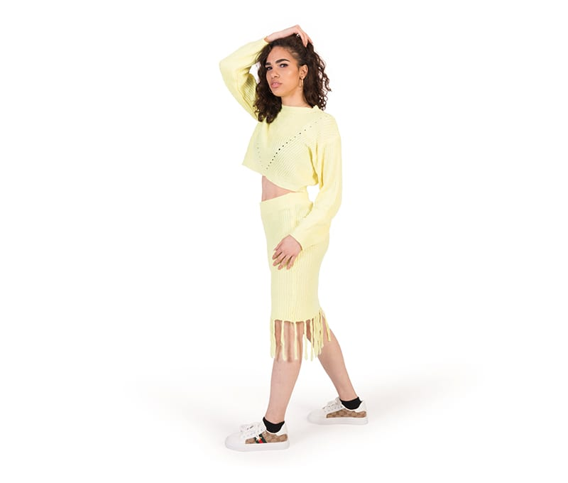 Freya Lemon Cable Knit Crop Top And Skirt Co-ord