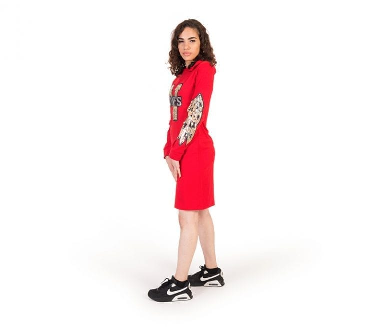 Lilah Red Petite Frint Print Fitted Hoodie Dress