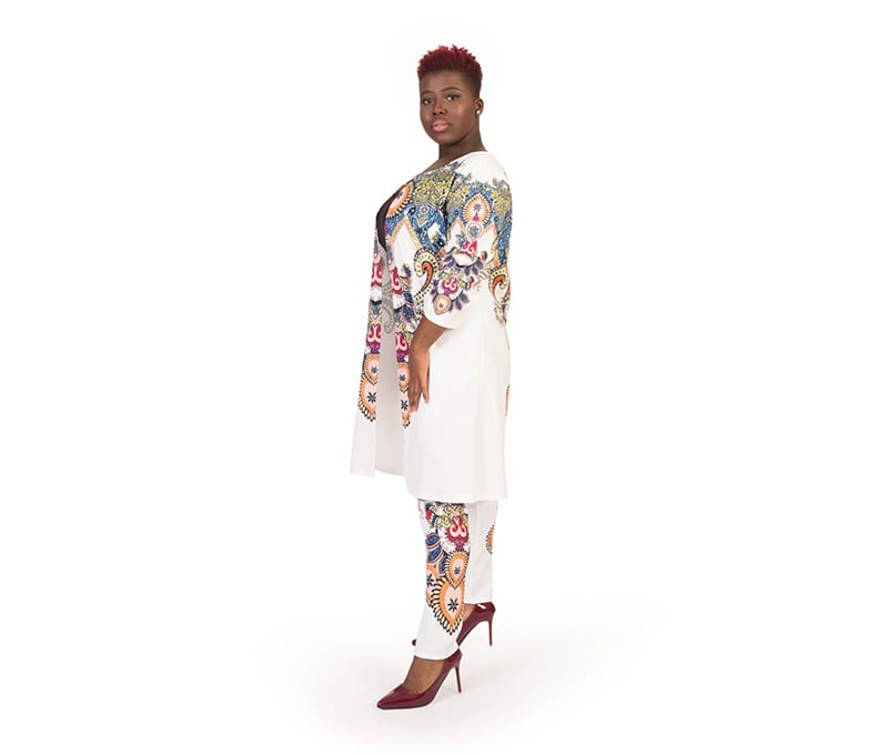 Elsie White Glamaker Print Top and Trouser Set