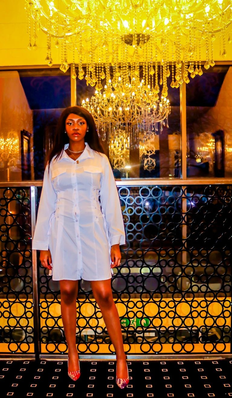 Alivia White Side Lace Up Collar Dress