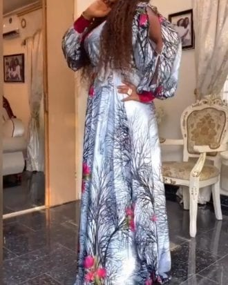 Rosalie White Floral Print Split sleeve maxi dress