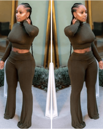 Maci Green Knitted Crop Top and Trouser Set