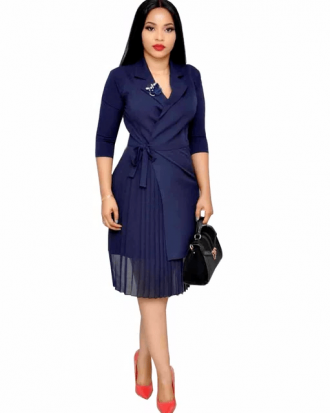 Kadence Navy Blue Mesh Overlay Belted Midi Dress