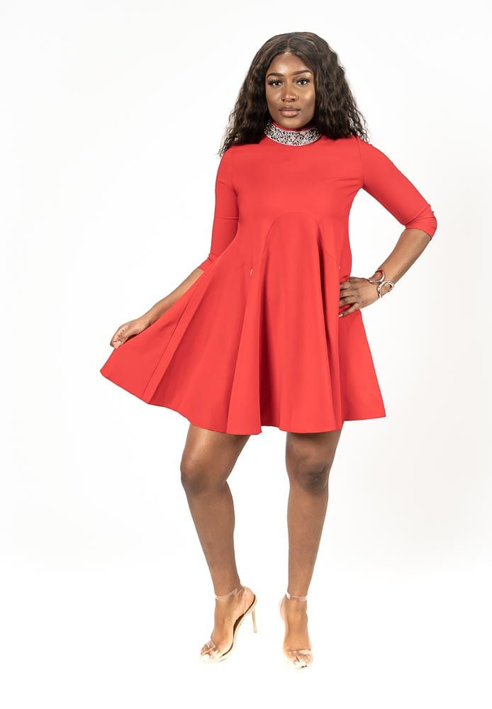 Red dressCrystal Neckline mini skater dress 3/4 sleeve