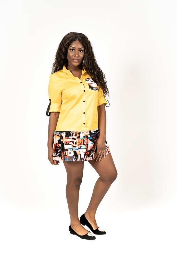 yellow peplum print hem short shirt dress
